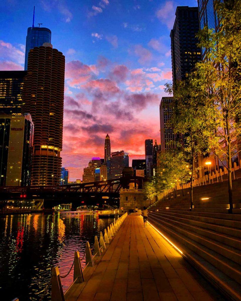 Morning light on the Chicago Riverwalk in Illinois