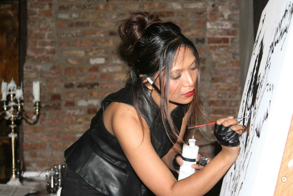 Jenny Vyas painting live at Fulton Market Kitchen in Chicago