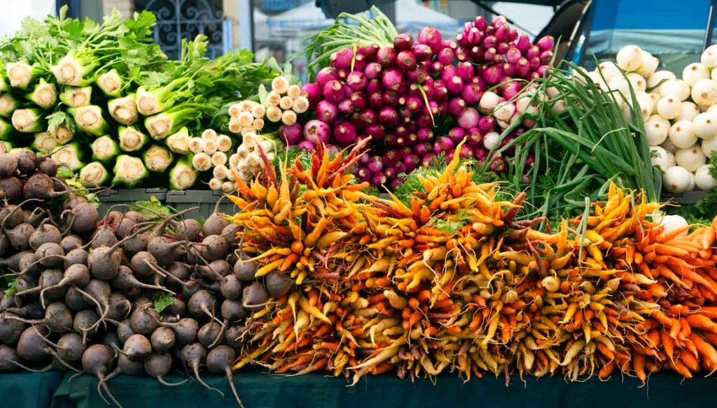 Produce at the Clement Street Farmer's Market in San Francisco