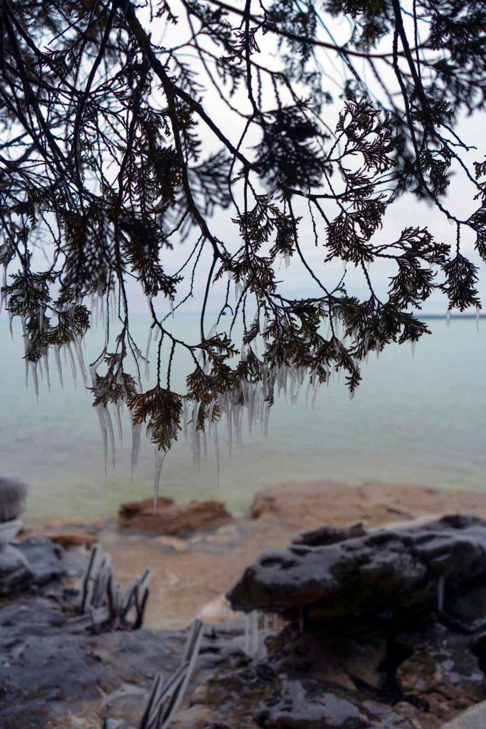 Icicles on the coastline in Door County