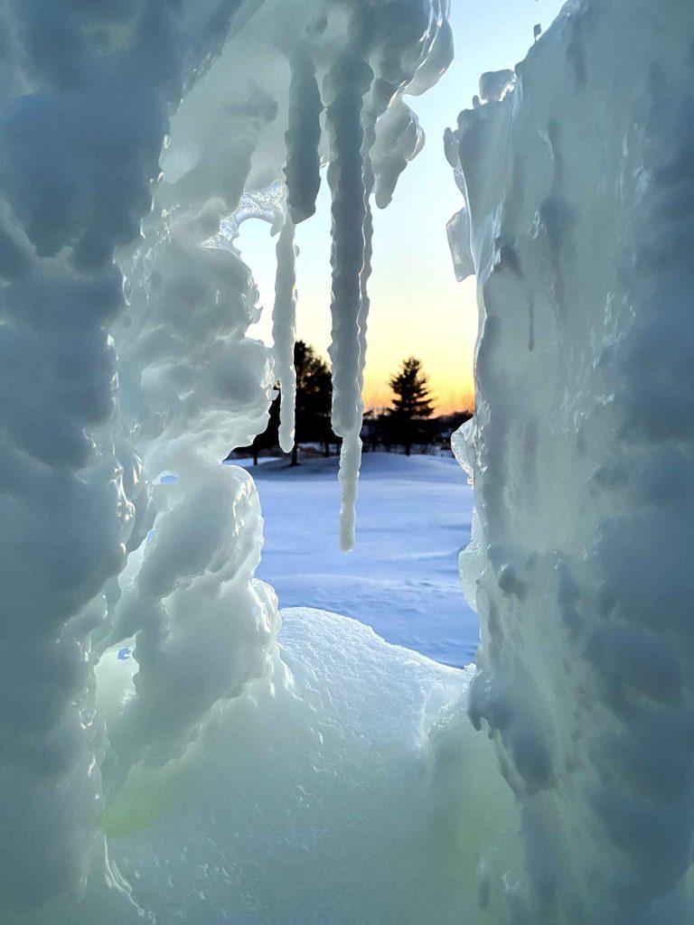 Ice sculptures in winter
