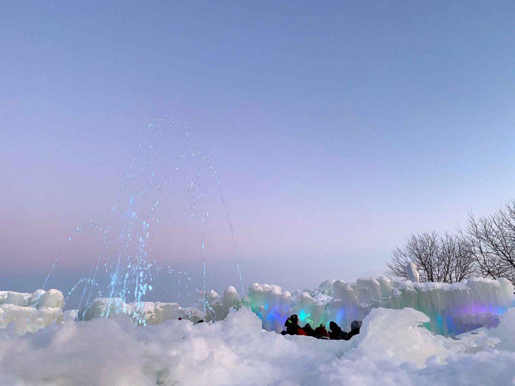 Snow fountain at the Lake Geneva Ice Castles