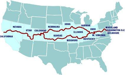 Southern American Discovery Trail route - Sedalia Missouri